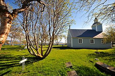 Church in Skutustadir at lake Myvatn (southside), North Iceland, Europe