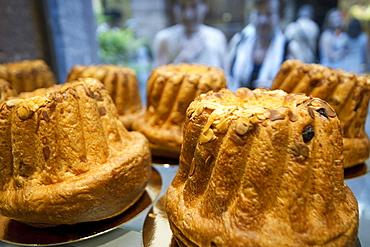 Guglhupf cake in a bakery, Strasbourg, Alsace, France