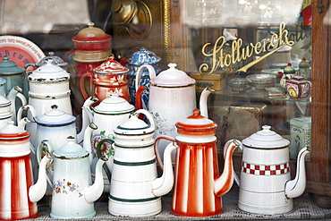 Old coffee pots in the window of a coffee shop, Colmar, Alsace, France