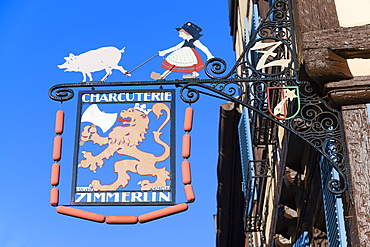 Sign of a butchery in the sunlight, Colmar, Alsace, France, Europe