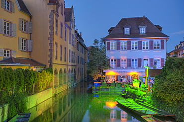 Museum of natural sciences at the Lauch river in the evening, Little Venice, Colmar, Alsace, France, Europe