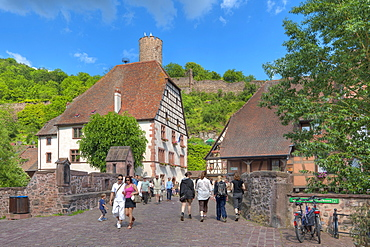 Bridge with half timbered houses, Kaysersberg, Alsace, France, Europe