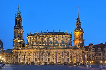 Hofkirche and Dresden Castle at dusk, Dresden, Saxony, Germany, Europe