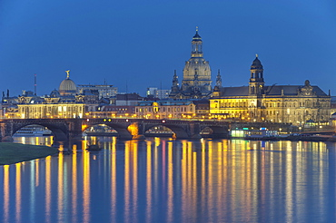 View of Frauenkirche and Augustus bridge, Dresden, Saxony, Germany, Europe