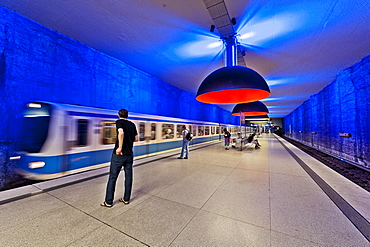 U-Bahn Station Westfriedhof, lamps are 3, 80 metres in diameter, Munich, Upper Bavaria, Bavaria, Germany