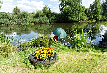 Angler on the bank of Spree river, Radinkendorf, Beeskow, Land Brandenburg, Germany, Europe
