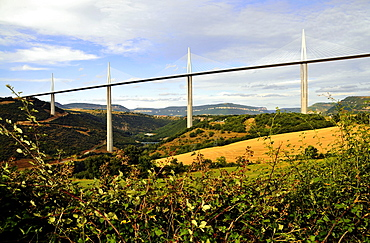 Motorway bridge in idyllic landscape, Languedoc, France, Europe