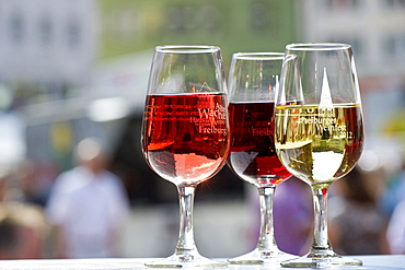 Glasses of wine at the wine festival, July 2012, Freiburg im Breisgau, Black Forest, Baden-Wuerttemberg, Germany, Europe