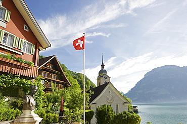 Houses of the village of Bauen at lake Lucerne, canton Uri, Switzerland, Europe
