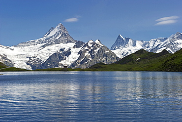 Lake Bachalpsee close to the First and Schreckhorn, canton of Bern, Switzerland, Europe