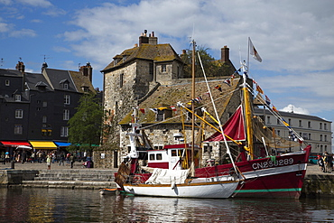 Sailboat and fishing boat in harbor, Honfleur, Calvados, Basse-Normandy, France