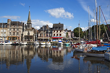 Sailboats in harbor, Honfleur, Calvados, Basse-Normandy, France