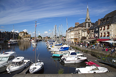 Sailboats in harbor and restaurants, Honfleur, Calvados, Basse-Normandy, France