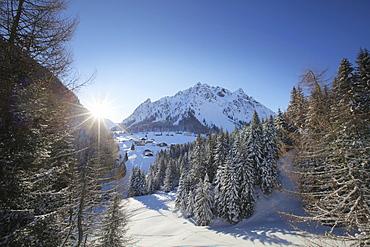 View over Vergalden to Ritzenspitzen, Gargellen, Montafon, Vorarlberg, Austria