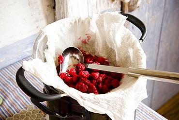 Preserving raspberries for raspberry jam, homemade