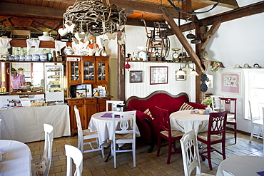 Interior view of Stelly's Huus, restaurant and cafe, Oevenum, Foehr, North Frisian Islands, Schleswig-Holstein, Germany, Europe
