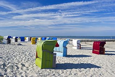 Colourful beachchairs on the beach, Utersum, Foehr, North Frisian Islands, Schleswig-Holstein, Germany, Europe