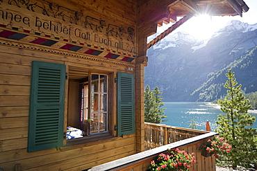 Chalet at lake Oeschinensee, Kandersteg, Bernese Oberland, Canton of Bern, Switzerland, Europe