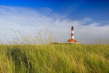 Westerheversand lighthouse and salt meadows, Westerhever, Wadden Sea National Park, Eiderstedt peninsula, North Frisian Islands, Schleswig-Holstein, Germany, Europe