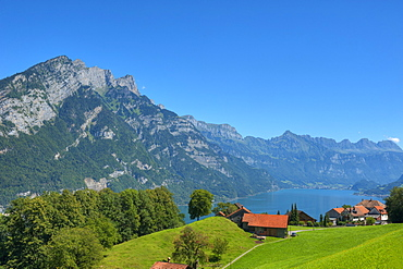View of lake Walensee with Churfirsten mountains, St. Gallen, Switzerland, Europe