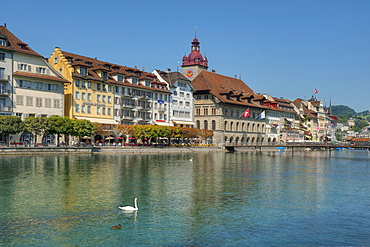 Reuss river with Rathausquai, Lucerne, Lucerne, Switzerland, Europe