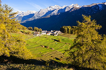 Little village Bos-cha at Engadin, Canton of Graubuenden, Grisons, Switzerland, Europe