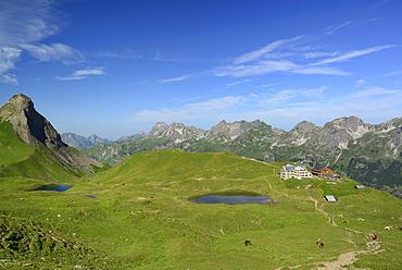 Rappensee alpine hut in front of Allgaeu range, Allgaeu range, Upper Allgaeu, Allgaeu, Swabia, Bavaria, Germany