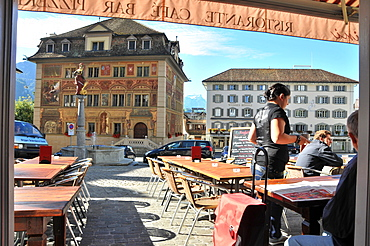 Cafe at the market place and townhall of Schwyz, Canton Schwyz, Centralswitzerland, Switzerland, Europe