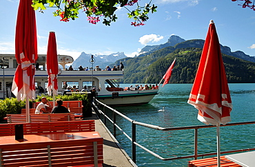 Excursion boat on Lake Lucerne, Canton Schwyz, Central Switzerland, Switzerland, Europe