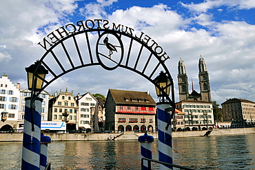 View over the Limmat river onto the Great Minster, Zurich, Switzerland, Europe