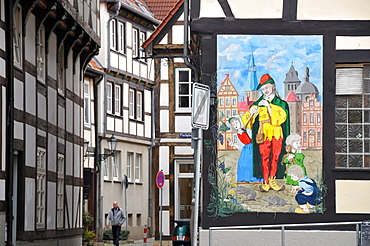 Half timbered houses at the old town of Hameln, Weser hills, Lower Saxony, Germany, Europe
