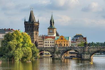 Karlsbridge with Altstadter bridgetower, Prague, Middle Bohemia, Czech Republik