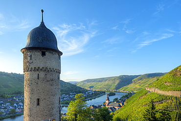 View at Zell with round tower, Moselle, Rhineland-Palatine, Germany