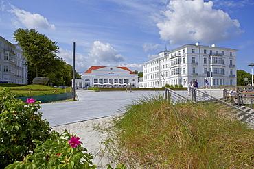 Spa hotel and promenade at seaside resort Heiligendamm, Mecklenburg Western Pomerania, Germany, Europe