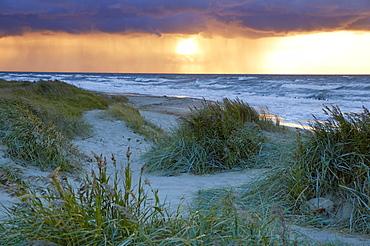 Sunset and rain above Baltic Sea, Baltic coast, Mecklenburg Western Pomerania, Germany, Europe