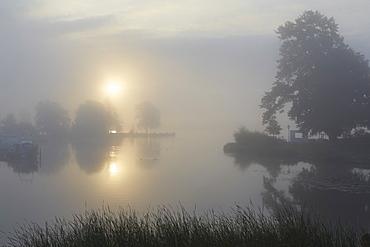 Lake Schweriner See at sunrise, Schwerin, Mecklenburg Western Pomerania, Germany, Europe