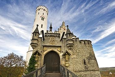 Lichtenstein Castle under clouded sky, Swabian Alp, Baden-Wuerttemberg, Germany, Europe