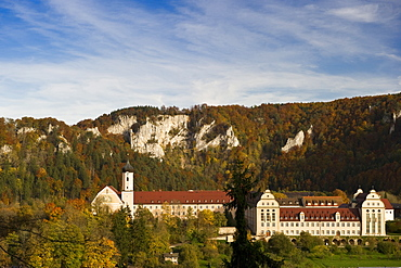 View of Beuron Archabbey, a major house of the Benedictine Order, Upper Danube Valley, Swabian Alp, Baden-Wuerttemberg, Germany, Europe