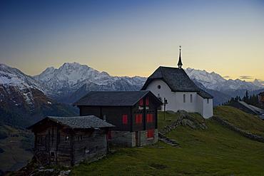 Mountain village at Bettmeralp at sunset, Canton of Valais, Switzerland, Europe