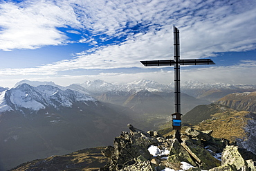 Summit cross of Bettmerhorn, Bettmeralp, In the background Pennine Alps and Rhone Valley, Canton of Valais, Switzerland, Europe