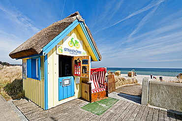 Kiosk for renting hooded beach chairs on the beach of Scharbeutz, Schleswig Holstein, Germany