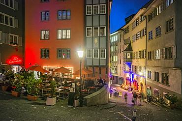 Restaurant in Niederdorf in the evening, Niederdorf, Zurich, Switzerland