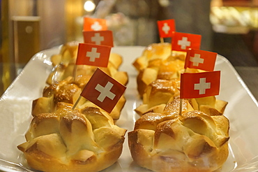 Cake with little swiss flagg, 1 August National day, Zurich, Switzerland
