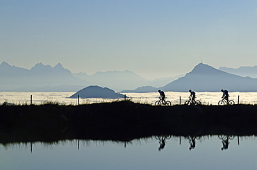 Mountain bikers at Lake Salvensee, Hohe Salve, Kitzbuehel Horn, Kitzbuehel Alps, Tyrol, Austria