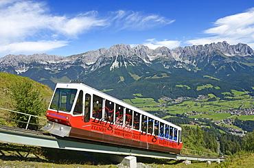 Hartkaiser funicular cable railway, View towards Wilder Kaiser, Ellmau, Tyrol, Austria