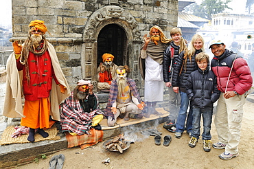 Sadhu with Tourists, Pashupatinath, Kathmandu Valley, Nepal