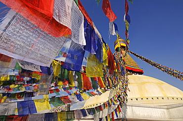 Prayer flags at Bodnath Stupa, Kathmandu, Kathmandu Valley, Nepal, Asia