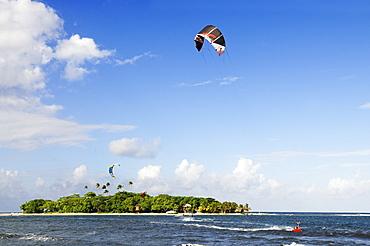 Kite surfer at Mahina Venus Point, Tahiti, Society Islands, French Polynesia, Windward Islands, South Pacific