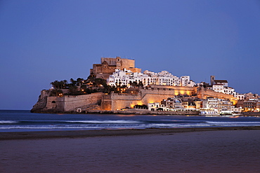 Old town with castle, Peniscola, Valencia, Spain