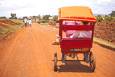 Rickshaw driving down a street, Madagascar, Africa